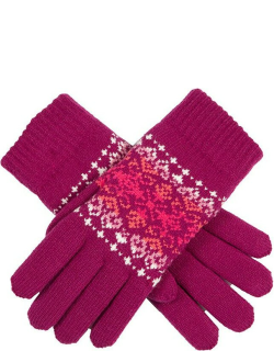 Dents Women's Fair Isle Knitted Gloves In Hot Pink