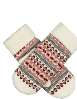 Dents Women's Fair Isle Knitted Mittens In Winter White
