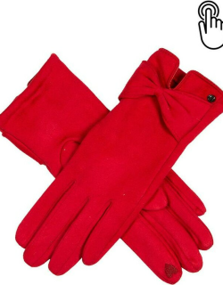 Dents Women's Touchsreen Faux Suede Gloves With Bow In Berry