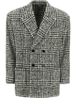 DOLCE & GABBANA CHECKERED DOUBLE-BREASTED WOOL JACKET 46 Black, White Wool