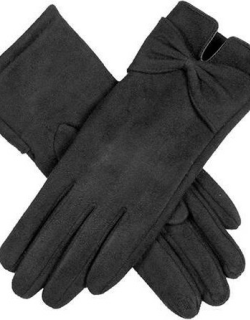 Dents Women's Touchsreen Faux Suede Gloves With Bow In Black