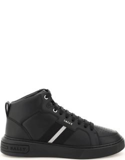BALLY MYLES LEATHER HIGH SNEAKERS 5 Black Leather