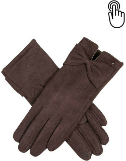 Dents Women's Touchsreen Faux Suede Gloves With Bow In Chocolate