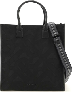 BURBERRY RECYCLED POLYESTER MONOGRAM TOTE BAG OS Black Technical, Cotton