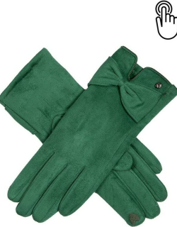 Dents Women's Touchsreen Faux Suede Gloves With Bow In Forest