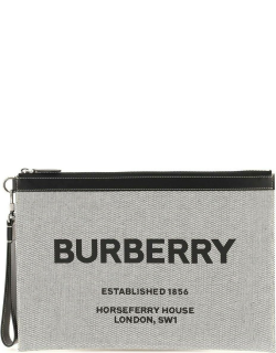 BURBERRY HORSEFERRY PRINT LARGE POUCH IN COTTON CANVAS OS Black, White Cotton, Leather