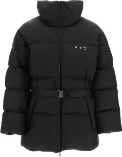 OFF-WHITE BELTED DOWN JACKET S Black Technical
