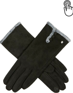 Dents Women's Touchscreen Faux Suede Gloves With Faux Fur Trim In Black