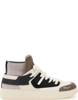 SALVATORE FERRAGAMO FABRIC AND LEATHER HIGH SNEAKERS 8 White, Beige, Black, Grey Leather, Technical