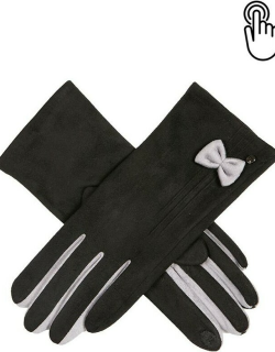 Dents Women's Touchscreen Faux Suede Gloves With Bow In Black/dove Grey