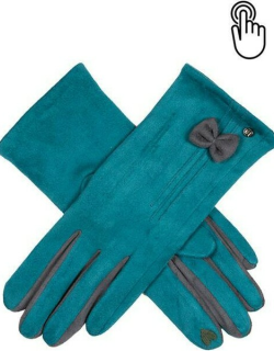 Dents Women's Touchscreen Faux Suede Gloves With Bow In Petrol/charcoal