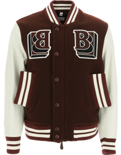 BURBERRY WOOL AND LEATHER VARSITY BOMBER JACKET 50 White, Red Wool, Leather