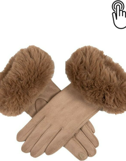 Dents Women's Touchscreen Faux Suede Gloves With Faux Fur Cuffs In Camel