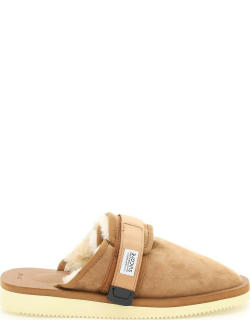 SUICOKE ZAVO SUEDE SABOT WITH SHEARLING 6 Brown Faux fur, Technical