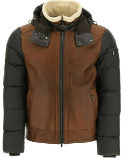 MooRER SMITH-MES SHEARLING JACKET 48 Brown Leather, Fur, Technical