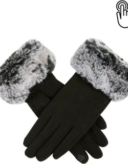 Dents Women's Touchscreen Thermal Gloves With Faux Fur Cuffs In Black