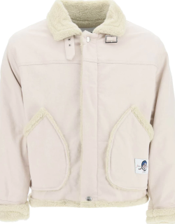 MSGM DENIM JACKET WITH FAUX SHEARLING 46 Beige Cotton