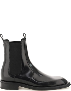 MARTINE ROSE BRUSHED LEATHER CHELSEA BOOTS 40 Black Leather