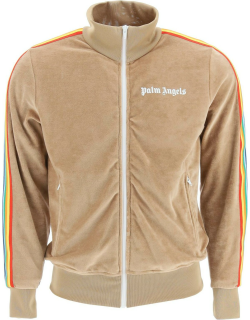 PALM ANGELS RAINBOW CHENILLE TRACK JACKET M Brown, White Cotton