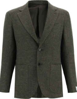 CARUSO TOSCA JACKET IN CASHMERE WOOL AND LINEN 48 Green Wool, Cashmere, Linen