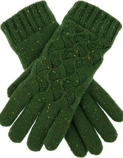 Dents Women's Lace Knit Gloves In Forest Green