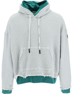 PALM ANGELS DOUBLE LAYER HOODIE S Grey, Green Cotton