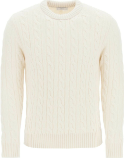GM77 CABLE KNIT LAMBSWOOL SWEATER S White Wool