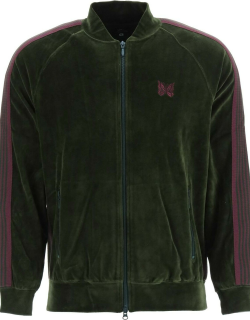 NEEDLES VELVET TRACK JACKET WITH STRIPED BANDS S Green, Purple Cotton