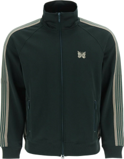 NEEDLES VELVET TRACK JACKET WITH STRIPED BANDS S Green, Beige Cotton
