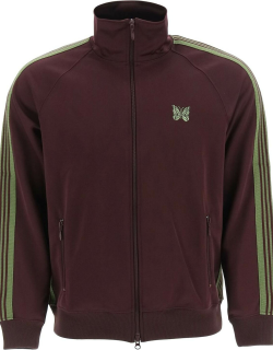 NEEDLES VELVET TRACK JACKET WITH STRIPED BANDS S Purple, Green Cotton