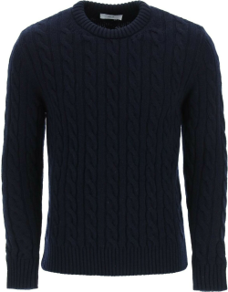 GM77 CABLE KNIT LAMBSWOOL SWEATER S Blue Wool