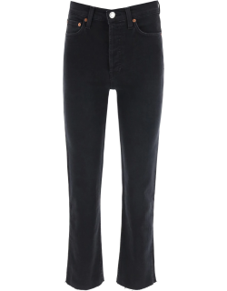 RE/DONE HIGH RISE STOVE PIPE JEANS 30 Black Cotton, Denim