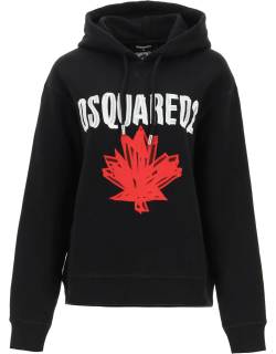 DSQUARED2 HOODIE WITH LOGO S Black, Red, White Cotton