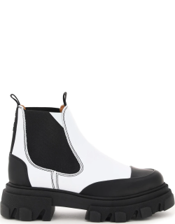 GANNI LEATHER CHELSEA BOOTS 40 White, Black Leather
