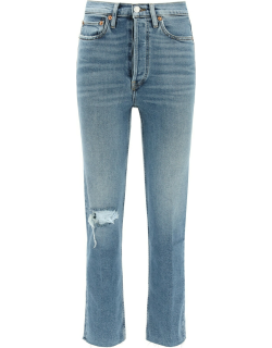 RE/DONE HIGH RISE STOVE PIPE JEANS WITH RIPS 29 Blue Cotton, Denim