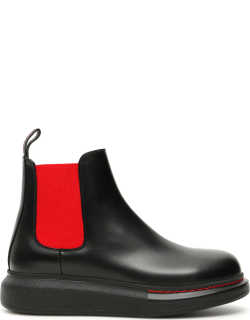 ALEXANDER MCQUEEN CHELSEA HYBRID BOOTS 40 Black, Red Leather