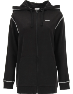 RED VALENTINO FULL ZIP HOODIE WITH LOGO L Black, White Cotton
