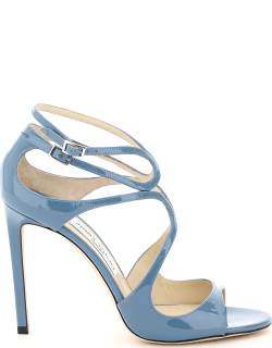 JIMMY CHOO PATENT LANG SANDALS 40 Blue Leather