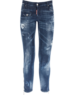 DSQUARED2 JENNIFER CROPPED JEANS WITH ZIP 42 Blue Cotton
