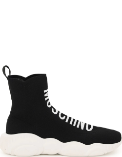MOSCHINO HIGH TOP TEDDY SNEAKERS 39 Black Leather