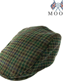 Dents Men's Abraham Moon Dogtooth Flat Cap In Forest