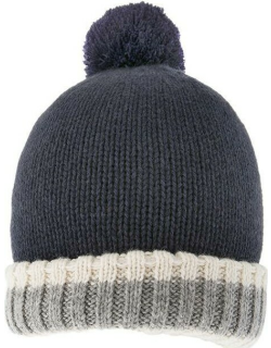 Dents Men's Warm Lined Knitted Hat With Pom Pom In Navy/grey