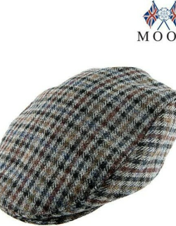 Dents Men's Abraham Moon Dogtooth Flat Cap In Slate