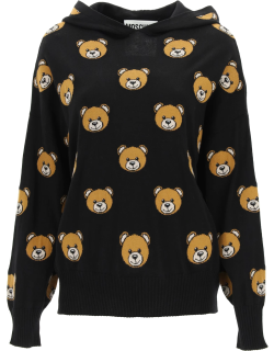 MOSCHINO HOODED SWEATER WITH TEDDY BEAR INTARSIA 44 Black, Brown, Beige Wool