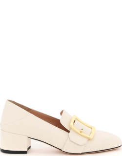 BALLY JANELLE LEATHER LOAFERS 38 Beige, White Leather