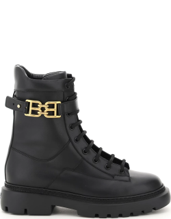 BALLY GIOELE LEATHER LACE-UP BOOTS 38 Black Leather