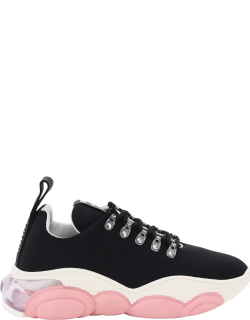 MOSCHINO TEDDY SNEAKERS 40 Black, Pink, White Technical