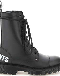 VETEMENTS LOGO MILITARY BOOTS 39 Black Leather