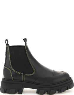 GANNI LEATHER CHELSEA BOOTS 38 Black Leather