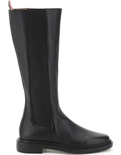 THOM BROWNE HAMMERED LEATHER HIGH BOOTS 39 Black Leather